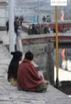 Sitting next to a river in Kathmandu