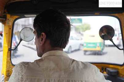 Inside of a rickshaw