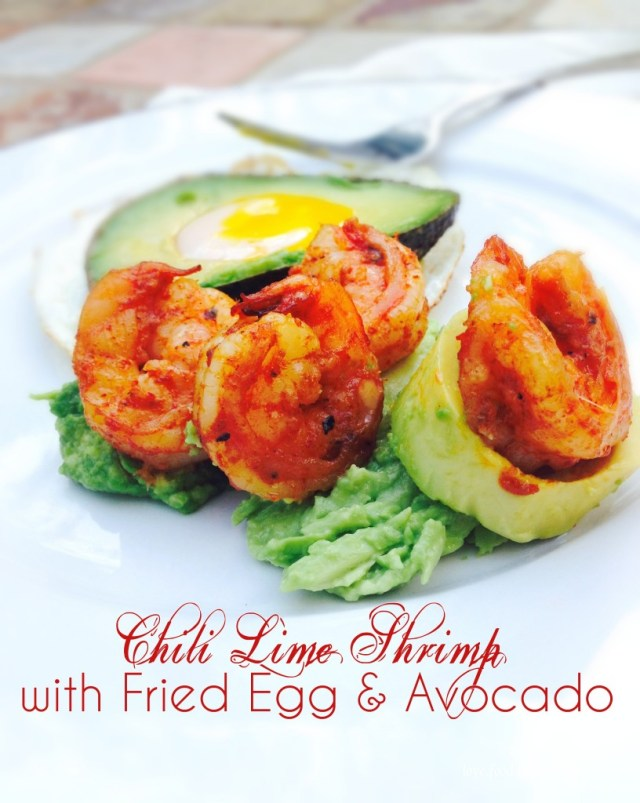 chili lime shrimp with avocado and egg