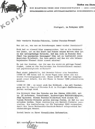 German promotion letter for Liebe zu Ihm book, attached to Porsche Christophorus magazines