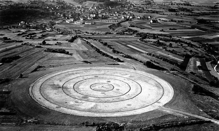 Construction of the Weissach skid-pads in 1962