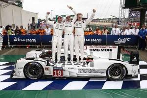 Le Mans winners 2015: Nick Tandy, Earl Bamber, Nico Huelkenberg (l-r)