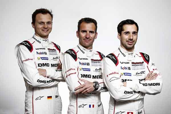 Porsche Team: Marc Lieb, Romain Dumas, Neel Jani (l-r)