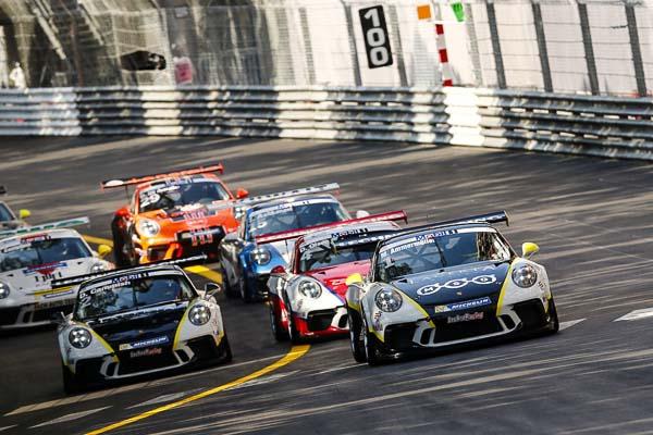 Start, Michael Ammermüller (D), Dan Cammish (GB), Dennis Olsen (N), Porsche Mobil 1 Supercup Monaco 2017