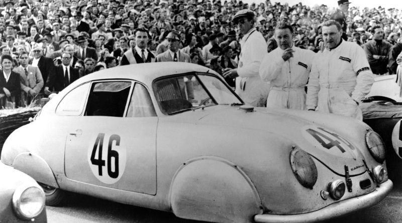 Edmond Mouche & Auguste Veuillet and the 1st in class Porsche 356 Gmund SL at the 1951 Le Mans 24H