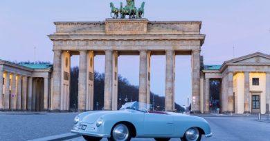 Porsche 356 Number 1 at the Brandenburger Tor in Berlin for Porsche 70 years exhibition