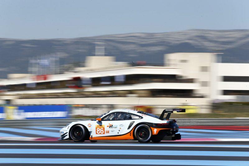 Porsche 911 RSR (#86), Gulf Racing, Ben Barker (GB), Alex Davison (AUS), Michael Wainwright (GB), Le Castellet 2018