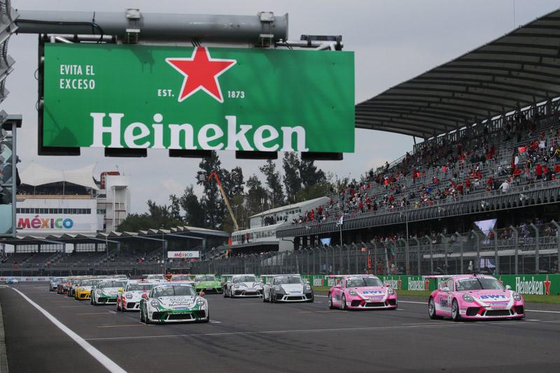 Start, Porsche 911 GT3 Cup, Julien Andlauer (F), Porsche 911 GT3 Cup, Michael Ammermüller (D), Porsche Mobil 1 Supercup, Mexico 2018