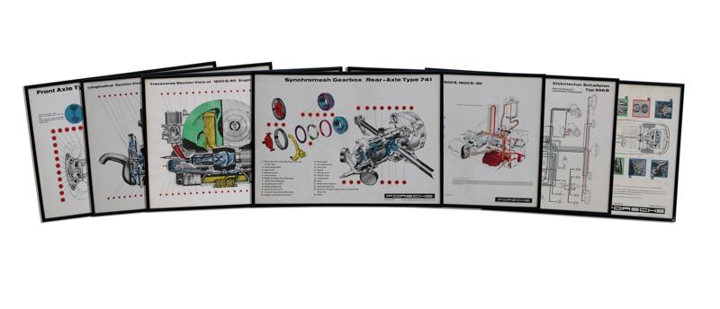 Porsche Workshop Technical Schematics and Cut-Away Framed Posters