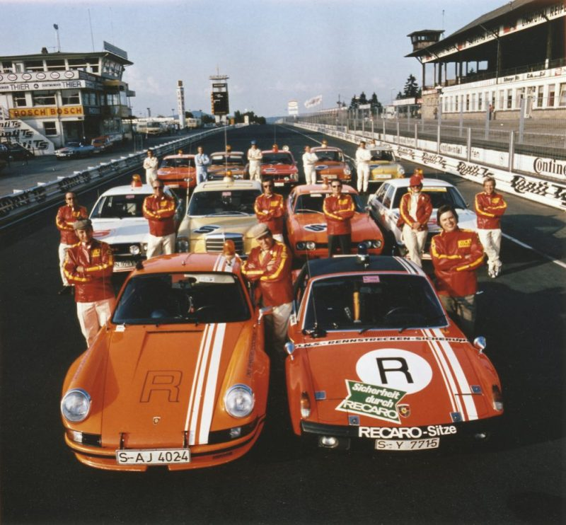 ONS track safety team at the Nürburgring in 1973: 911 Carrera RSR 2.8 model year 1973 (front) and 914/6 GT model year 1972. Standing between these two vehicles is Porsche legend Herbert Linge.