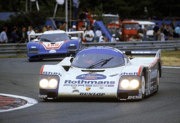 Derek Bell, Hans-Joahim Stuck and Al Holbert win the 1986 Le Mans 24 Hours in a Porsche 962C