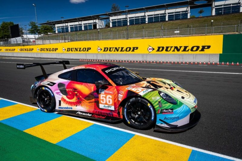 The Porsche-customer-team Project-1 in the Porsche 911 RSR is competing in Le Mans featuring a design, which was implemented in cooperation with Porsche Digital and Second Skin