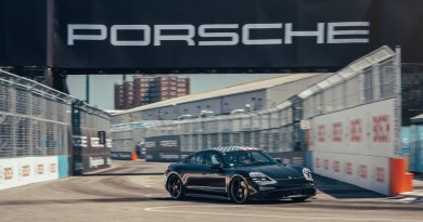 The Porsche Taycan makes a guest appearance at the Formula E finale in New York