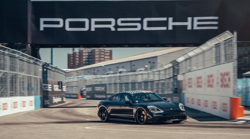 Porsche factory and Formula E driver Neel Jani is impressed by the performance of the Taycan on the racetrack in Brooklyn