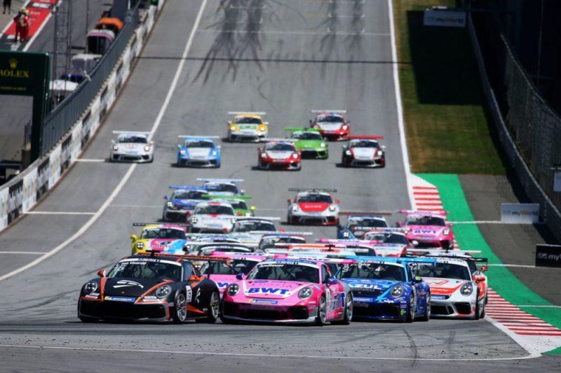Start, Porsche 911 GT3 Cup, Larry ten Voorde (NL), Julien Andlauer (F), Michael Ammermüller (D), Dylan Pereira (L), Porsche Mobil 1 Supercup, Spielberg 2019