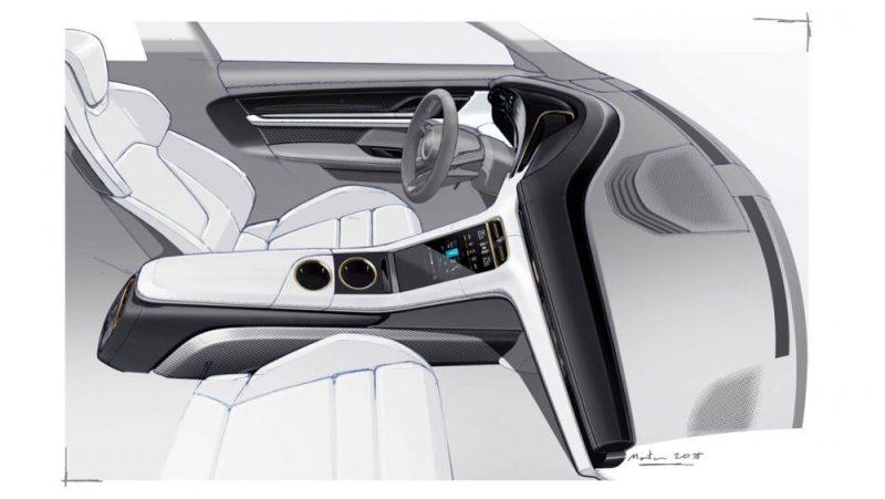 Design sketch of the interior of the Porsche Taycan