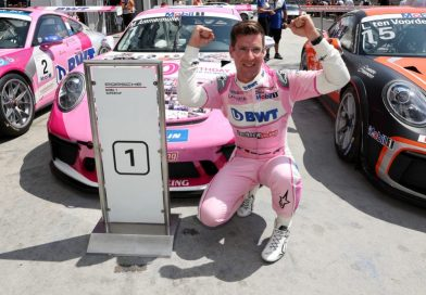 Michael Ammermüller celebrates his second win of the Porsche Mobil1 Supercup season in Budapest