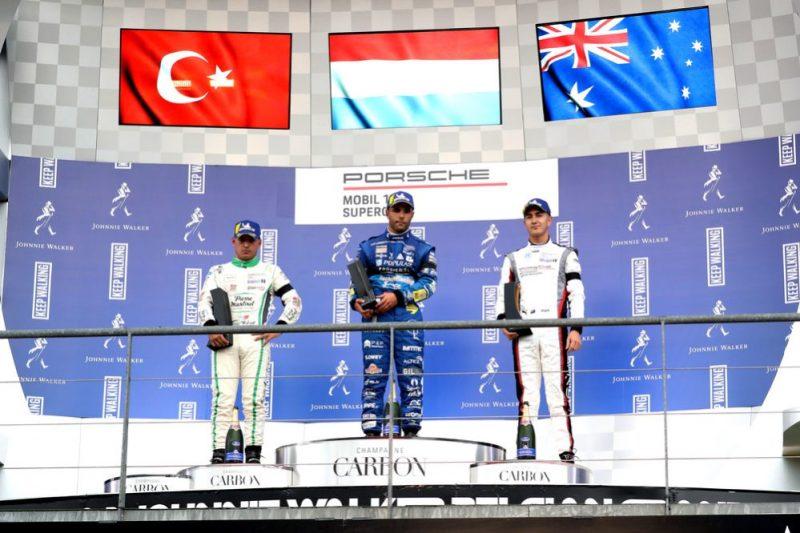 Ayhancan Güven (TR), martinet by ALMERAS, Dylan Pereira (L), Momo Megatron Lechner Racing, Jaxon Evans (NZ), FACH AUTO TECH, Porsche Mobil 1 Supercup, Spa-Francorchamps 2019