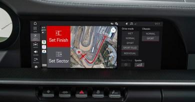 Porsche Track Precision App via Apple Car Play.