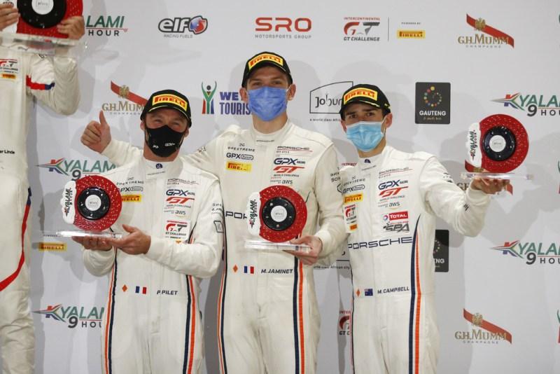GPX Racing (#12), Patrick Pilet (F), Mathieu Jaminet (F), Matt Campbell (AUS) (l-r)