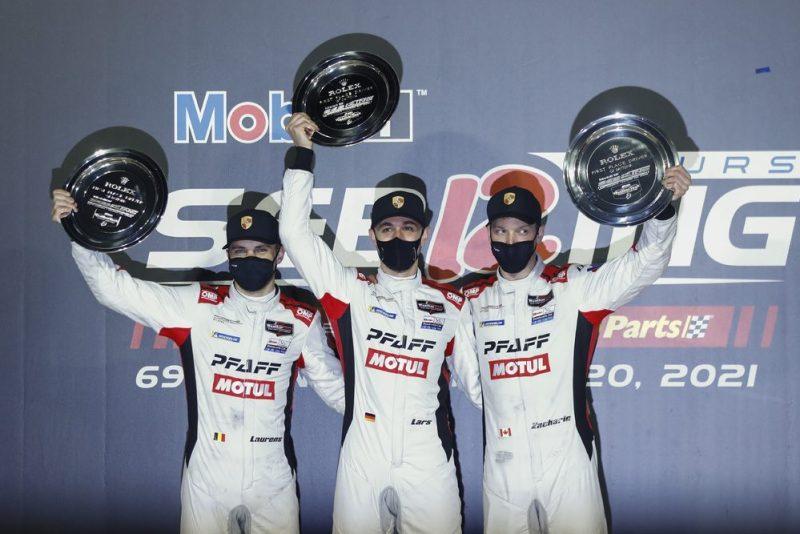 Pfaff Motorsports #9, Laurens Vanthoor (B), Lars Kern (D), Zacharie Robichon (CDN) (l-r) 2021 Sebring 12H