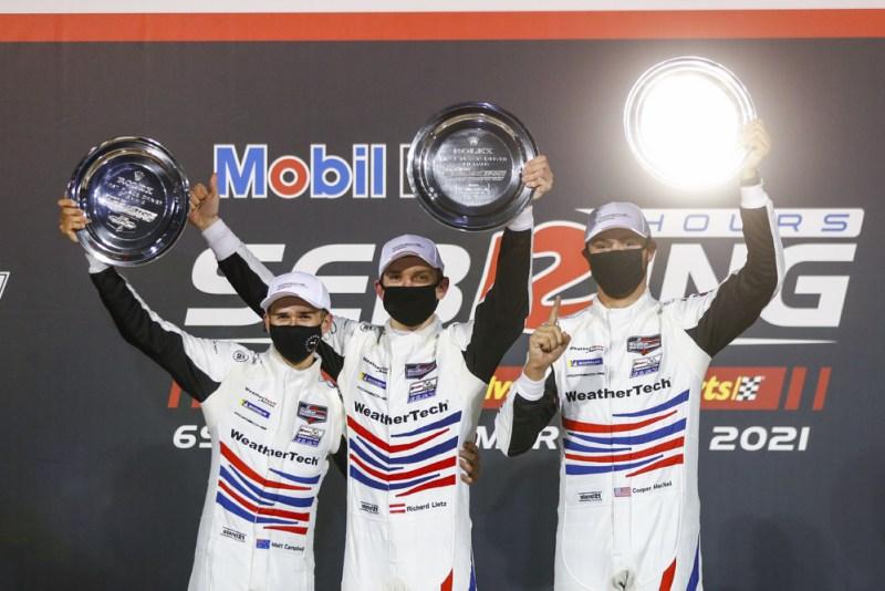 WeatherTech Racing #79, Matt Campbell (AUS), Mathieu Jaminet (F), Cooper MacNeil (USA) (l-r) 2021 Sebring 12H
