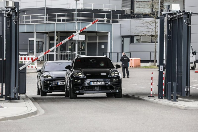 The first physical prototypes of the all-electric Macan leave the Porsche development center in Weissach, well camouflaged.