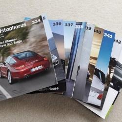 Porsche company magazine Christophorus - complete set from October/November 2008 through to April/May 2011