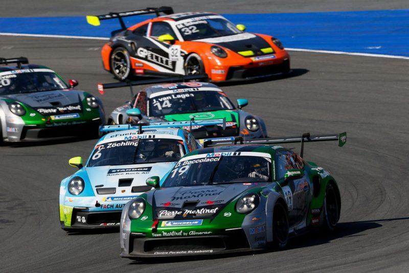 Porsche 911 GT3 Cup, Martinet by Almeras (#19), Dorian Boccolacci (F), FACH AUTO TECH (#6), Christopher Zöchling (A), Porsche Mobil 1 Supercup 2021, Zandvoort (NL)