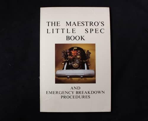 The Maestro's little spec book and emergency breakdown procedures Book Cover