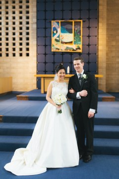 Groom and bride first portrait photo (Shaughnessy United Church)