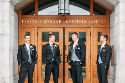 Wedding party groomsmen photo in UBC library, Vancouver, BC, Canada (Irving K Barber Learning Center)