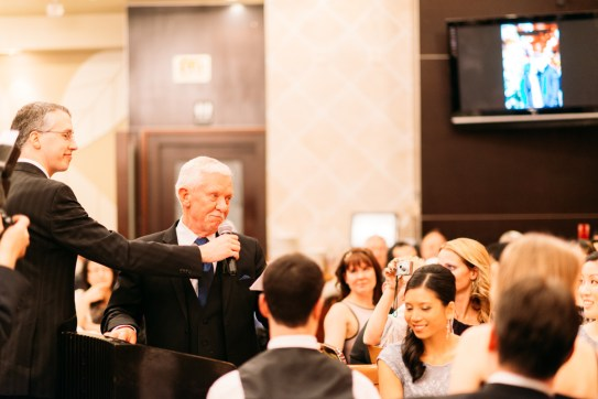 Dad giving speech during the wedding banquet