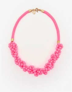 Bright pink chunky bead necklace Joules