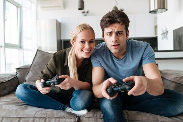 man woman playing games