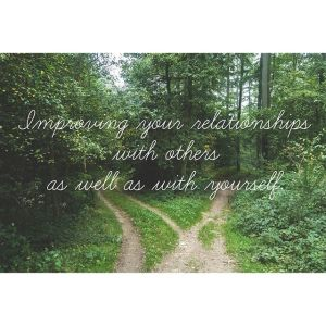 """A fork in a forest path with the text """"improving our relationship with others as well as with yourself"""" for Love Heal Grow. We offer online affair recovery in California, online sex therapy in Sacramento, CA, and other services. Contact an online therapist in California today!"""