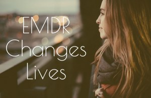 """A woman smiles as she looks out over the city with the text """"EMDR Changes Lives"""" on screen. We offer sexual trauma therapy in Sacramento, CA, Contact a sexual trauma therapist for support with online therapy in California and other services."""