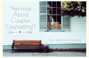 """A bench rests against a window & the text """"nervous about couples counseling? Your questions answered. www.lovehealgrow.com"""" Contact a Sacramento therapist for support with couples therapy and marriage counseling, treatment for anxiety, and other services."""