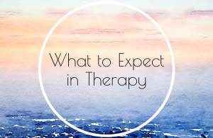 """A pastel graphic with the text """"what to expect in therapy."""" Love Heal Grow offers online therapy in California. Contact an online therapist in California for support with online anxiety therapy and other services."""