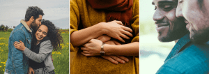 Three images of couples embracing one another for love heal grow. Contact an online therapist in california for online lgbt therapy in california, online couples therapy and marriage counseling, and other services.