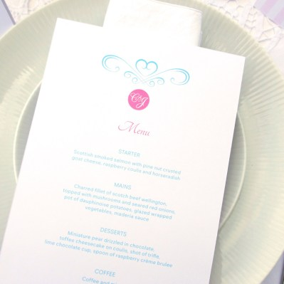 Wedding Table Menu Sweetheart by Love Invited