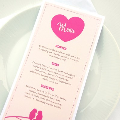Wedding Invitation Menu lovebirds by Love Invited