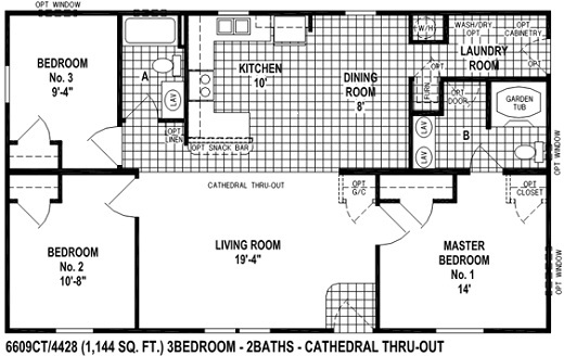 Sectional Mobile Home Floor Plan 6609