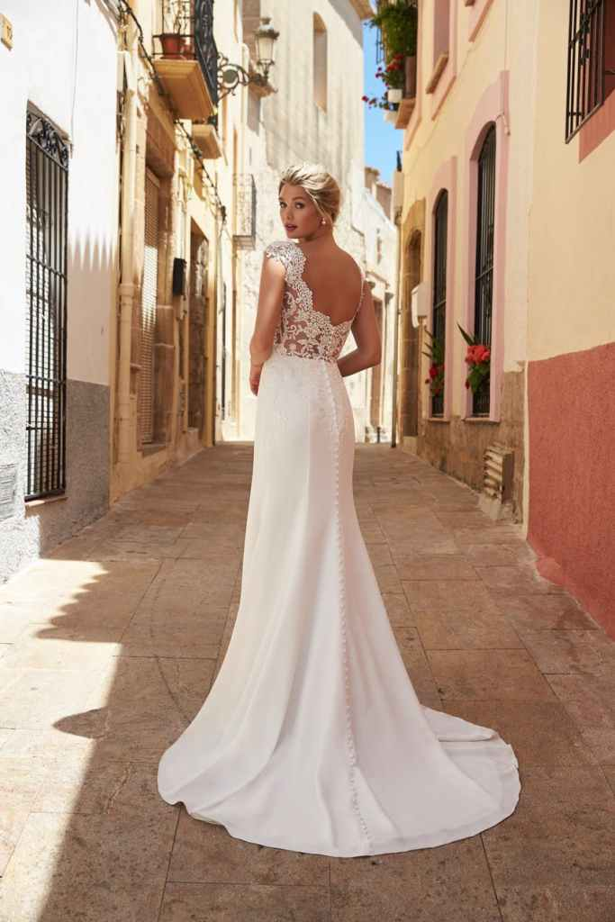 Lace and crepe wedding dress