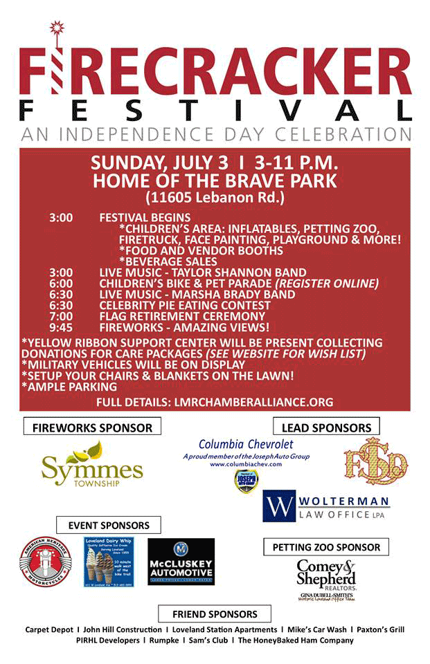 Firecracker Festival Is Sunday July 3rd At Home Of The Brave Park