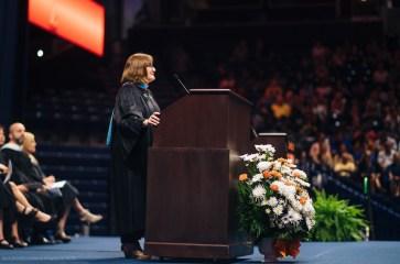 Principal Peggy Johnson delivers an Ernest speech
