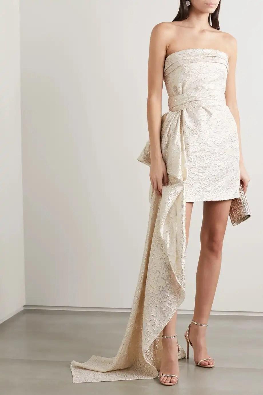 REEM ACRA metallic | Short Wedding Dress