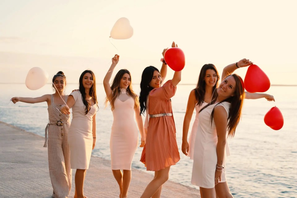 bridesmaids on the beach