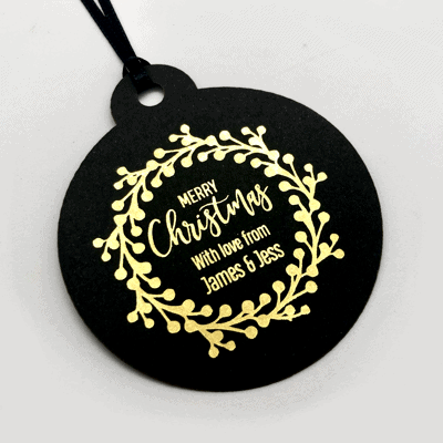 Black and gold tags