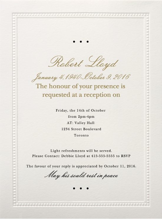 Funeral Reception Invitation Exle 1